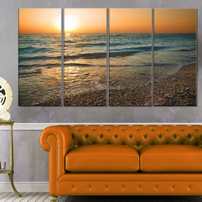 Gloomy Atlantic Beach Portugal Seascape Canvas ArtPrint - 4 Panels
