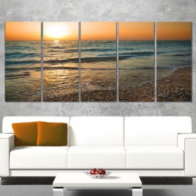 Designart Gloomy Atlantic Beach Portugal SeascapeWrapped Canvas Art Print - 5 Panels