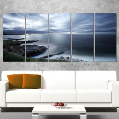 Gloomy Bluish Atlantic Beach Portugal Seascape Wrapped Canvas Art Print - 5 Panels