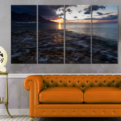 Gloomy Sea Coast At Sunrise Modern Seashore CanvasArt - 4 Panels