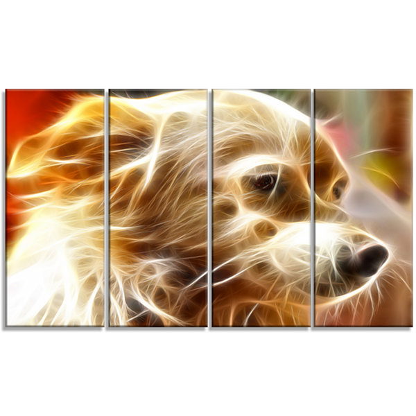 Glowing Brown Dog Head Animal Canvas Wall Art - 4Panels