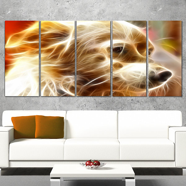 Designart Glowing Brown Dog Head Animal Wrapped Canvas WallArt - 5 Panels