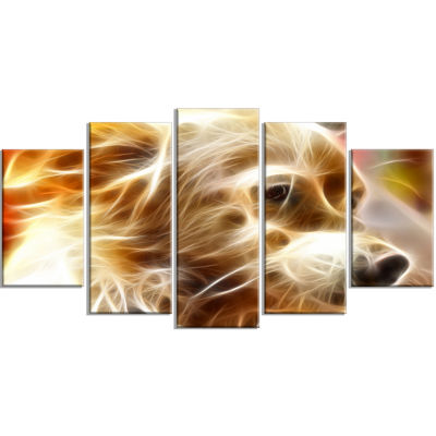 Glowing Brown Dog Head Animal Wrapped Canvas WallArt - 5 Panels