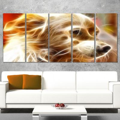 Designart Glowing Brown Dog Head Animal Canvas Wall Art - 5Panels