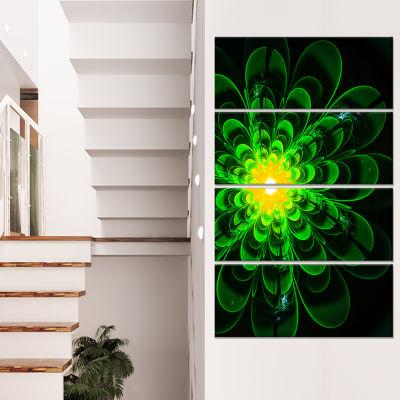 Designart Glowing Green Fractal Flower On Black Floral Canvas Art Print - 4 Panels