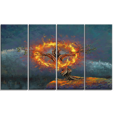 Designart God In The Burning Bush Landscape Art Print Canvas- 4 Panels