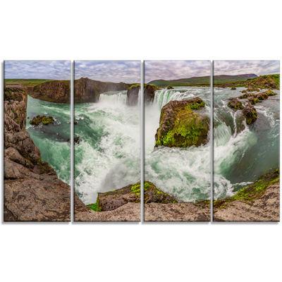 Designart Godafoss Waterfall Iceland Panorama Landscape Canvas Art Print - 4 Panels