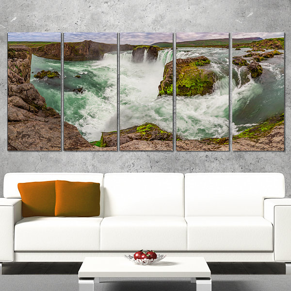 Godafoss Waterfall Iceland Panorama Landscape Wrapped Canvas Art Print - 5 Panels
