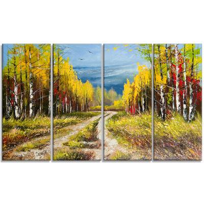 Designart Golden Autumn Landscape Art Print Canvas- 4 Panels