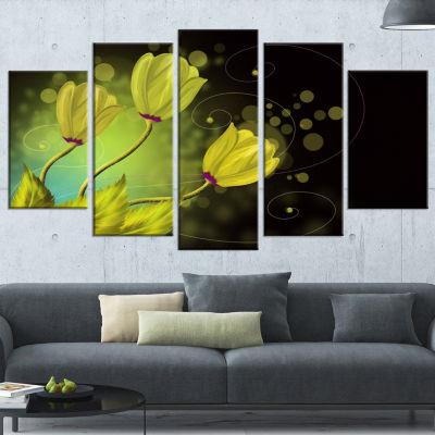 Designart Golden Flowers Greeting Card Floral ArtCanvas Print - 4 Panels