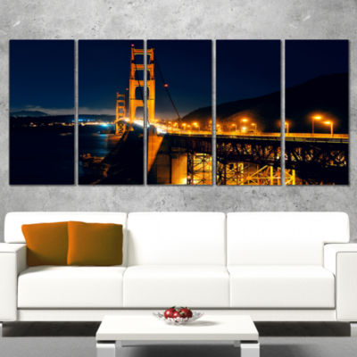 Designart Golden Gate At Night Sea Bridge Canvas Art Print -4 Panels