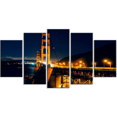 Designart Golden Gate At Night Sea Bridge WrappedCanvas ArtPrint - 5 Panels