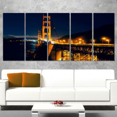 Designart Golden Gate At Night Sea Bridge Canvas Art Print -5 Panels