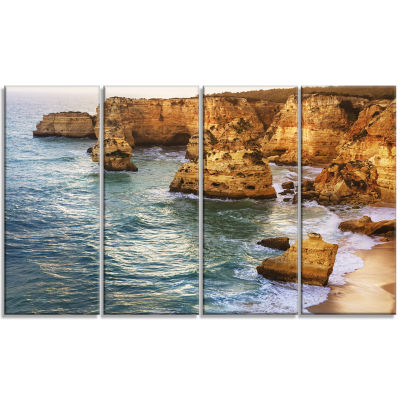 Golden Rocks And Beach At Algarve Extra Large Seashore Canvas Art - 4 Panels
