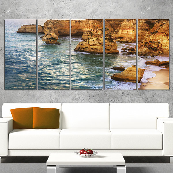 Designart Golden Rocks And Beach At Algarve ExtraLarge Seashore Wrapped Canvas Art - 5 Panels