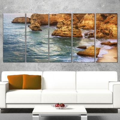 Designart Golden Rocks And Beach At Algarve ExtraLarge Seashore Canvas Art - 5 Panels