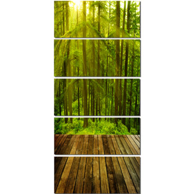 Designart Golden Sunlight In Pine Forest LandscapePhotography Canvas Print - 4 Panels