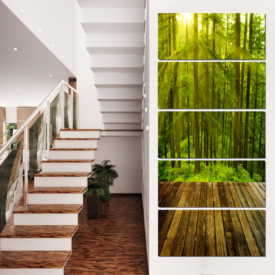Designart Golden Sunlight In Pine Forest LandscapePhotography Canvas Print - 4 Panels