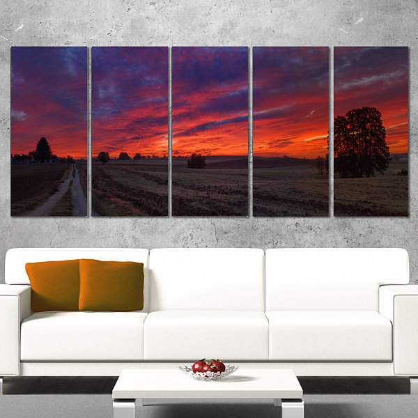 Designart Gorgeous Cloudy Sky During Fall Landscape Print Wall Artwork - 4 Panels