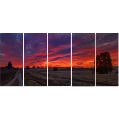 Designart Gorgeous Cloudy Sky During Fall Landscape Print Wall Artwork - 5 Panels