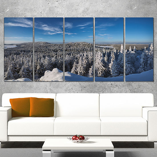 Designart Gory Stolowe From Szczeliniec MountainsOversizedLandscape Wall Art Print - 4 Panels