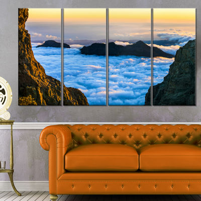 Designart Gran Canaria Sunset Over Clouds Extra Large Seashore Canvas Art - 4 Panels