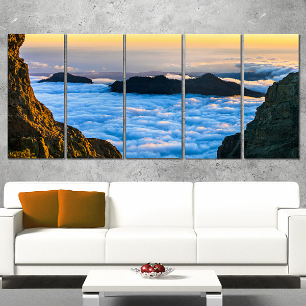 Designart Gran Canaria Sunset Over Clouds Extra Large Seashore Wrapped Canvas Art - 5 Panels