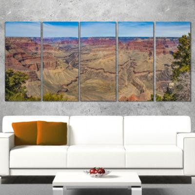 Designart Grand Canyon National Park Landscape Artwork Wrapped Canvas - 5 Panels