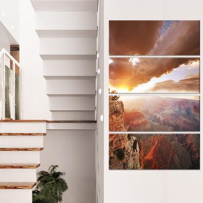 Designart Grand Canyon Under Thunderstorm Sky Oversized Landscape Canvas Art - 4 Panels