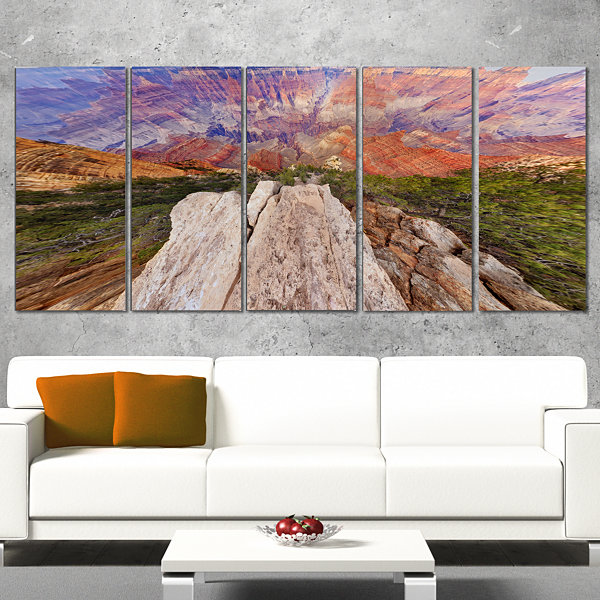 Designart Grand Canyon View From Above Modern Seascape Canvas Artwork - 4 Panels