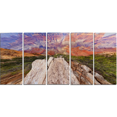 Designart Grand Canyon View From Above Modern Seascape Canvas Artwork - 5 Panels