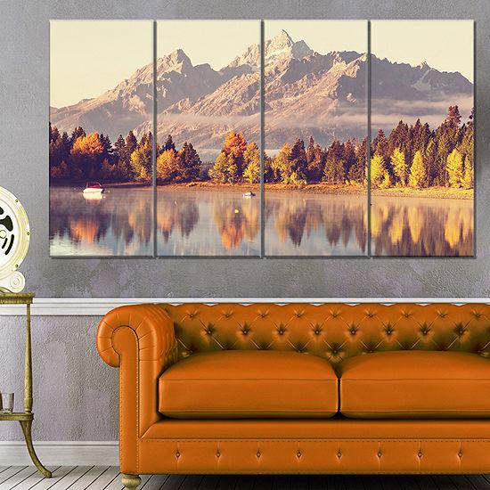 Designart Grand Teton National Park Oversized Landscape Canvas Art - 4 Panels