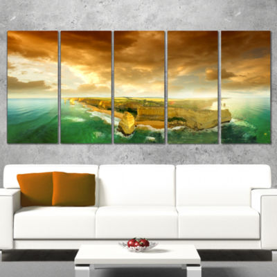 Designart Great Ocean Road Australia Green ModernSeascape Wrapped Canvas Artwork - 5 Panels