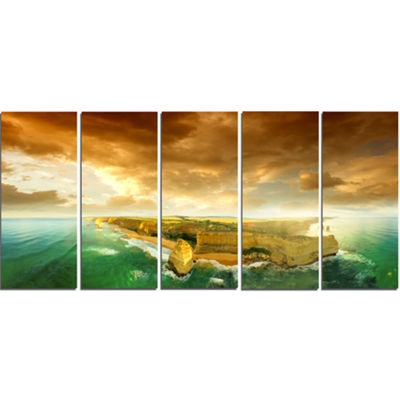 Designart Great Ocean Road Australia Green ModernSeascape Canvas Artwork - 5 Panels