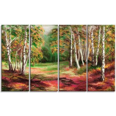 Designart Green Autumn Forest Landscape Art PrintCanvas - 4Panels