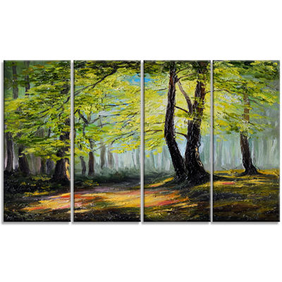 Designart Green Autumn Forest Large Landscape ArtPrint Canvas - 4 Panels