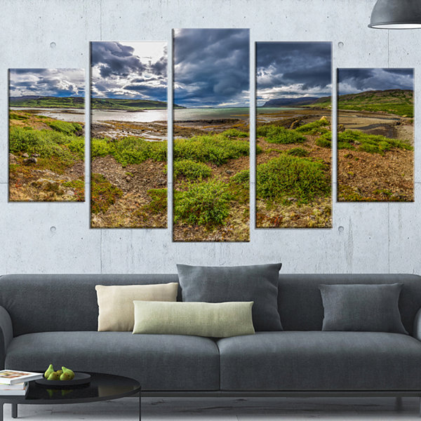 Designart Green Cloudy Coast Panorama Landscape Wrapped Canvas Art Print - 5 Panels