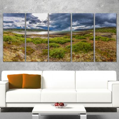 Designart Green Cloudy Coast Panorama Landscape Canvas Art Print - 5 Panels