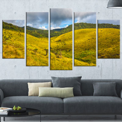 Designart Green Everywhere Horton Plains LandscapeWrapped Canvas Art Print - 5 Panels