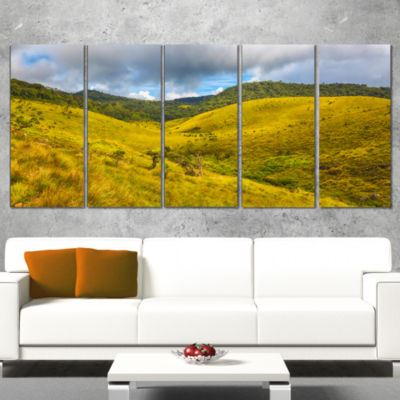 Green Everywhere Horton Plains Landscape Canvas Art Print - 5 Panels