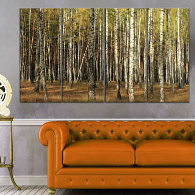 Designart Green Fall Forest With Thick Trees Forest Canvas Art Print - 4 Panels