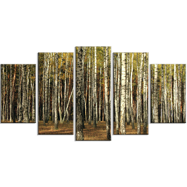 Designart Green Fall Forest With Thick Trees Forest WrappedCanvas Art Print - 5 Panels