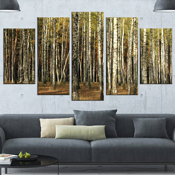 Green Fall Forest With Thick Trees Forest WrappedCanvas Art Print - 5 Panels