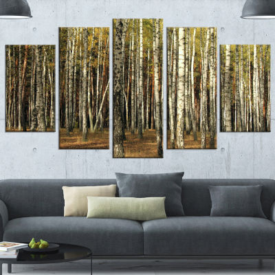 Green Fall Forest With Thick Trees Forest Canvas Art Print - 5 Panels