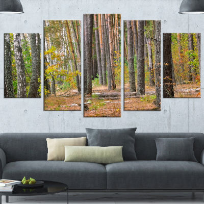 Designart Green Fall Forest With Thick Woods Modern Forest Canvas Art - 5 Panels