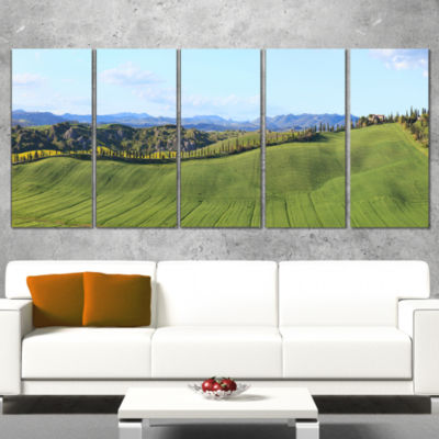 Green Field With Cypress Trees Panorama OversizedLandscape Wrapped Wall Art Print - 5 Panels