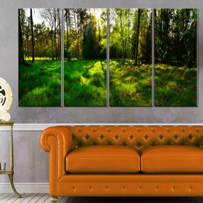 Green Forest Sunset Panorama Landscape Artwork Canvas - 4 Panels