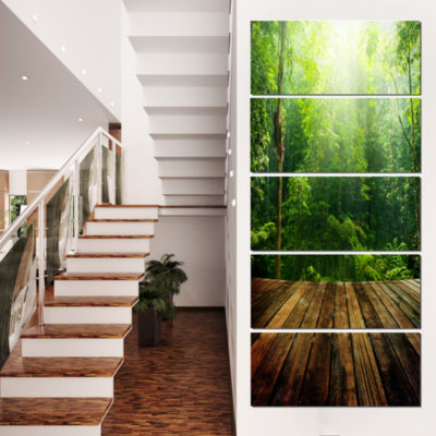 Green Forest With Ray Of Light Landscape Photo Canvas Art Print - 4 Panels