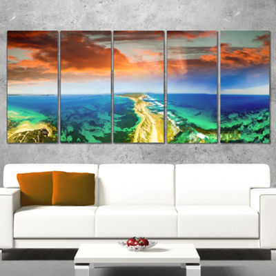Designart Green Fort Nepean Road From Helicopter Landscape Wrapped Canvas Art Print - 5 Panels