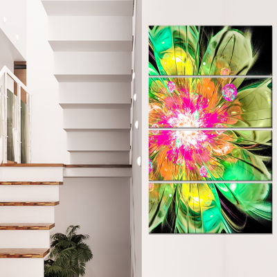 Designart Green Fractal Flower Petals Close Up Floral CanvasArt Print - 4 Panels